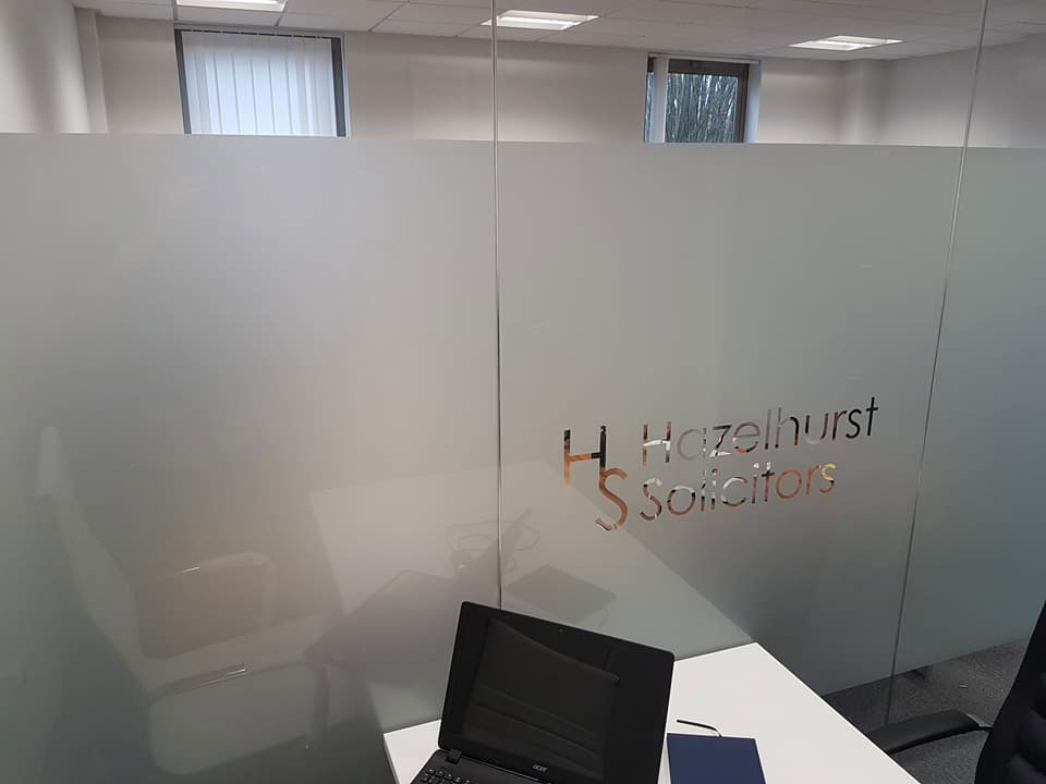 Privacy for office, etch Band with logo cut into 1 pane Hazelhurst Solicitors - Manchester