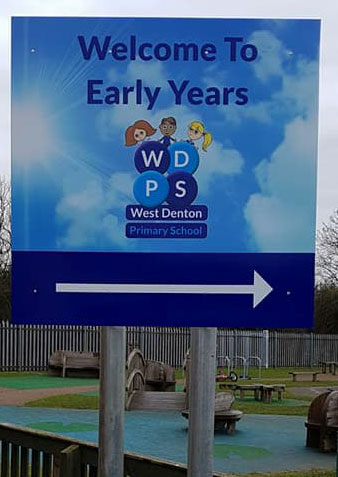 1. West Denton Primary school signage supplied and installed
