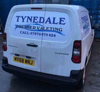 3. Removable Magnetic signage supplied, printed and cut to fit panels for Tynedale Premier Valeting