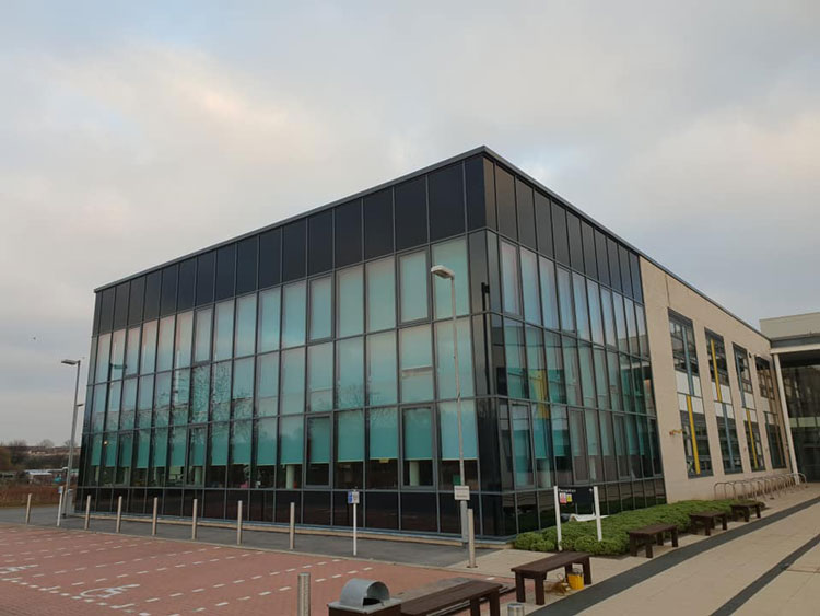 External Black vinyl to all high level Glazing Jarrow Engineering School