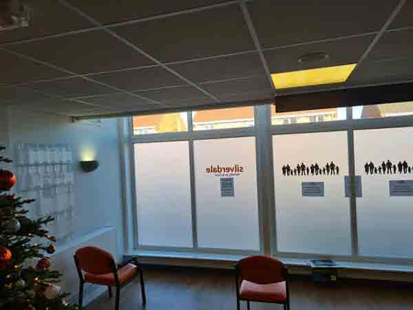 2. Privacy frost installed to numerous panes at the Silverdale Family Practice in Hetton